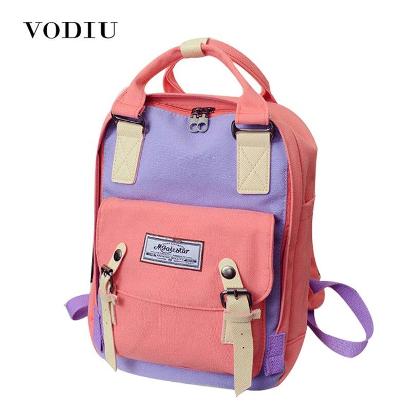 2017 Preppy Vintage Designer Hasp Belt Patchwork Canvas Backpack Women Men School Travel Bag Laptop Notebook Rucksacks Mochila