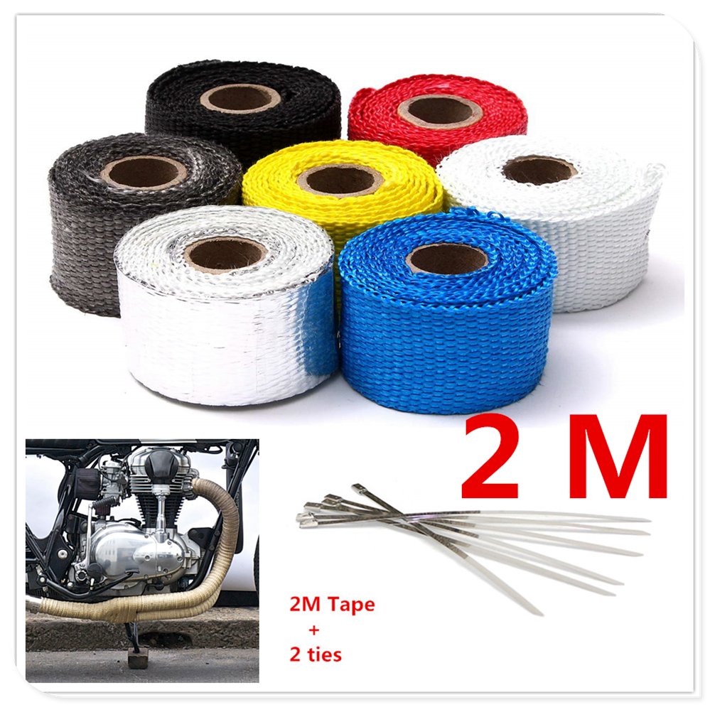 2M Motorcycle Exhaust Heat Wrap cover tape Insulation FOR <font><b>YAMAHA</b></font> XV 950 RACER TDM 900 <font><b>MT</b></font>-<font><b>125</b></font> MT125 <font><b>MT</b></font>-01 V-MAX WR250R X image