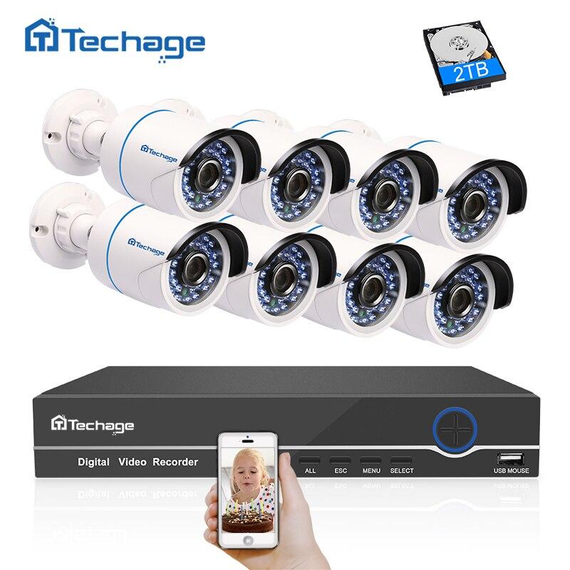 Techage 8CH 1080 p POE NVR CCTV Système 2MP Sécurité Imperméable À L'eau Extérieure POE IP Caméra IR Nuit P2P Onvif Vidéo kit de Surveillance