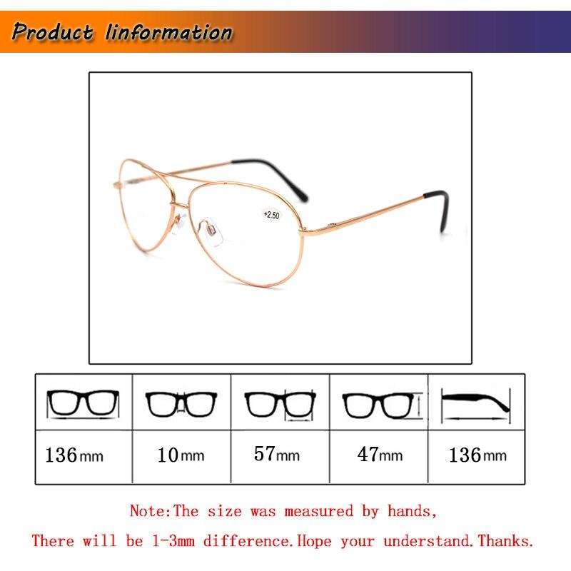 Bifocale Pilot Leesbril Voor Vrouwen Gold Mannen Lente Been Dubbele Beam Verziend Brillen vergrootglas Oude man Eyewear Sight L3
