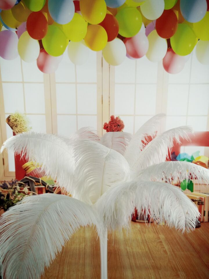 Free Shipping Wholesale 50pcs Beautiful Natural White Ostrich Feather 14-16inch /35-40cm Decorative Diy