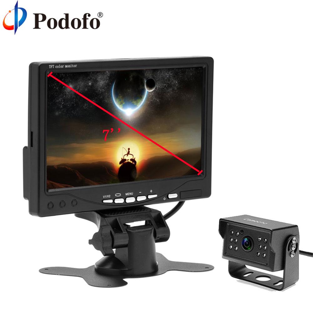 Podofo 7 LCD Car Monitor Rearview Screen Auto Parking Backup Reverse With Waterproof Rear View Camera Night Vision for Truck 7 car wireless foldable tft lcd monitor with rear view infrared night vision backup camera reverse parking cam for truck bus