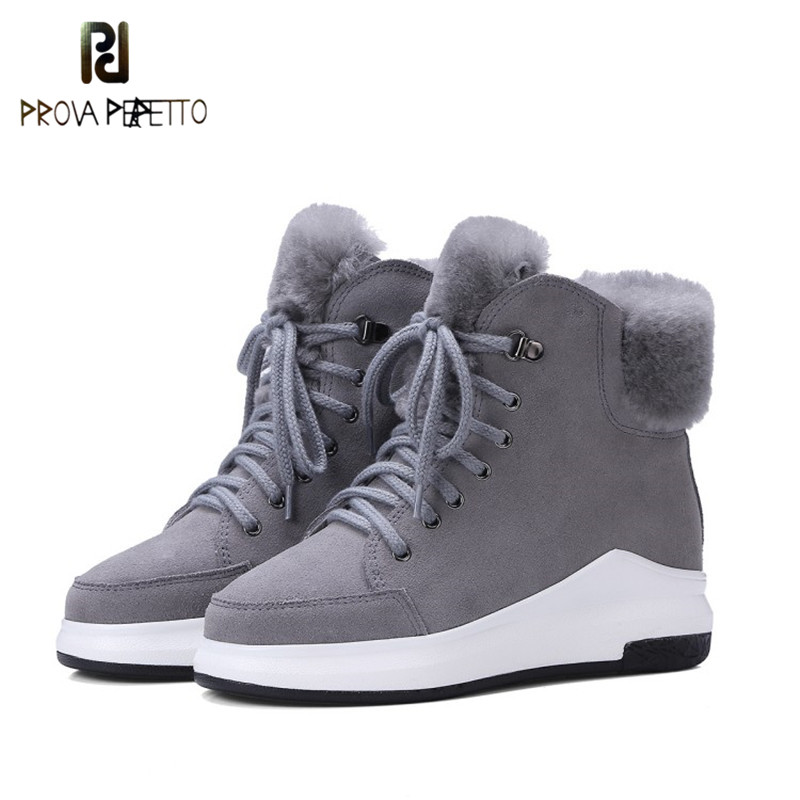 Prova Perfetto 2018 Winter Korean Style Keep Warm Wool Blend Woman Ankle Boots Cow Leather Real Wool Fur Round Toe Short Boots peak lapel pocket wool blend pea coat