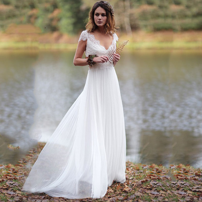 Eightree V Neck Appliqued with Lace Princess Wedding Dress Tulle A-Line neck Beach Chiffon Brush Train Bride Gown