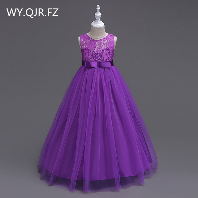 BH999#Flower Girl Dresses Sleeveless lace princess dress for children from Europe and America purple red Children's costumes
