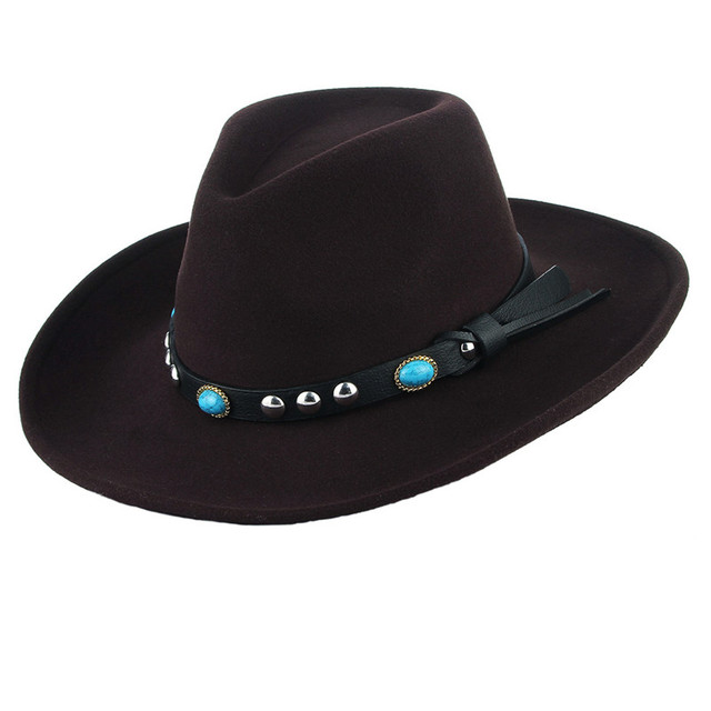 76025311da6 Fall Winter Hats Jazz Cap Cowboy Hat for Men Women Fashion Belt Decor  Casual Solid Color Wide Brim Felt Hats Unisex Hats