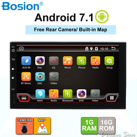 android 7.1 car radio 2 din for universal cassette player wifi gps navigation 1024*600 free camera and built in map