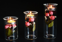 1PC New European style DIY creative ECO Candle Holder Glass Candlesticks dinner at home decoration glass crafts JY 1176