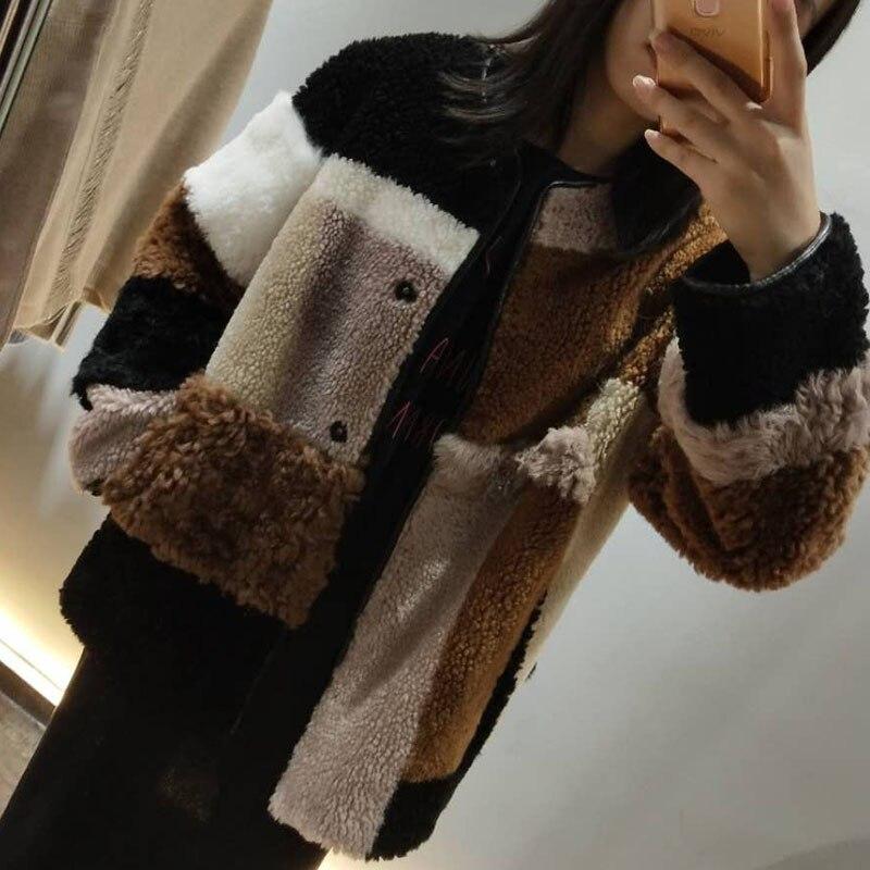 Naturel En Cuir Multicolore Épissage Femmes Printemps hiver Laine Manteaux De Fourrure Plus La Taille Chaud Lâche De Laine Manteau De Mode Épaissir Vestes