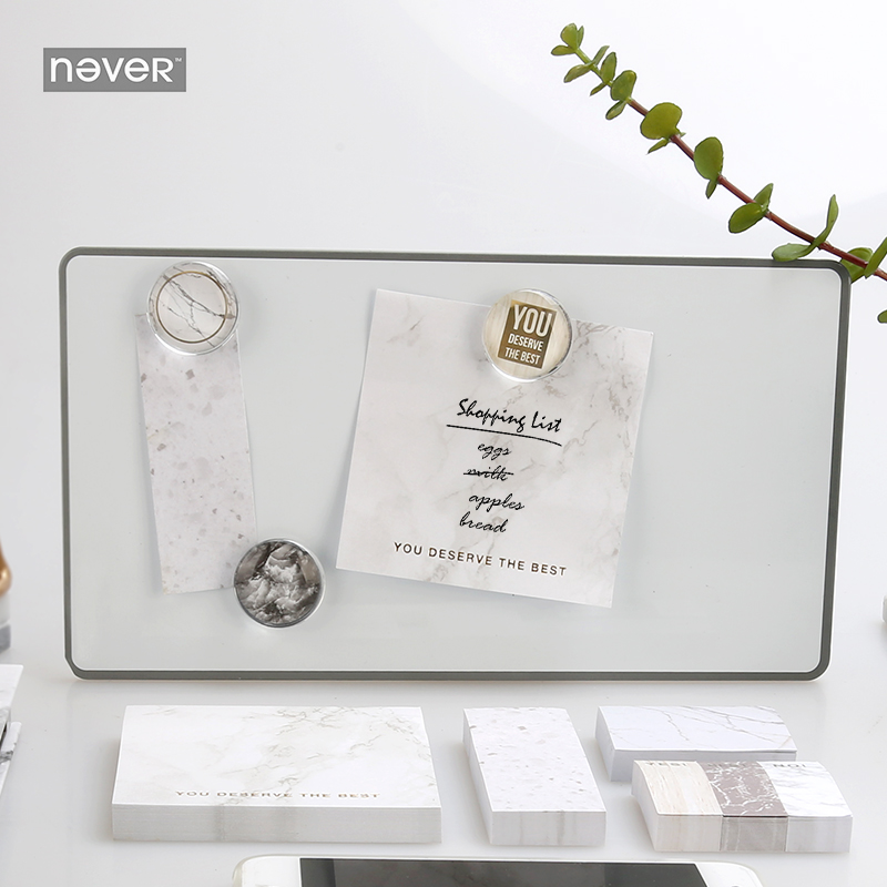 Never Marble Series Sticky Notes And Memo Pads Set Post With Sticker Box Fashion Trend 2018 Office Supplies Stationery Store never watercolor collection sticky notes set memo pad set post diary stickers kawaii stationery office and school supplies