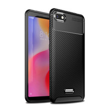 For Xiaomi Redmi 6A 6 Pro Case Carbon Fiber Silicone Phone Bag Classic Business Full Protection Back Cover