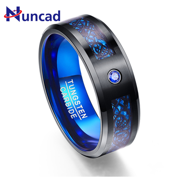 Foreign Trade Carbon Fiber Scrub Blue Zircon Men Rings Tungsten Carbide Anillos para hombres Black Dragon