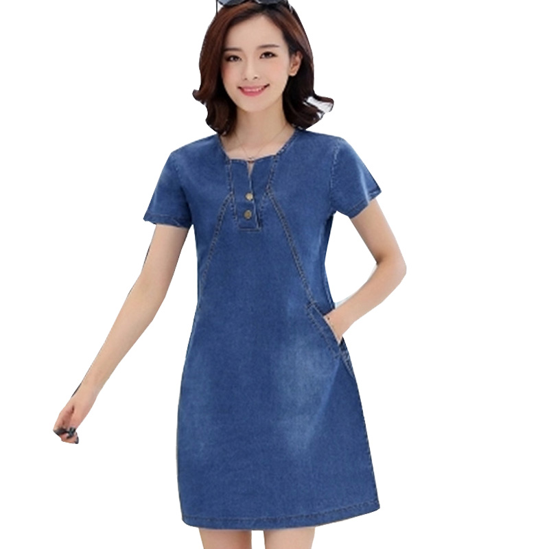 Women's Clothing Hot Sales Slim Denim Dresses Summer 2018 New Casual Soft Jeans Dress Elegant Vestido 2 Colors Solid O Neck Short Sleeves Zy231 Do You Want To Buy Some Chinese Native Produce?