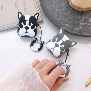 Image 2 - For AirPods Case Cute Cartoon Dog Earphone Cases For Apple Airpods 2 Cover Funda with Finger Ring Strap