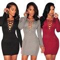Dress 2016 Мода American Apparel Sexy Глубокий V Шеи Спереди Крест Клубные Женщины Платья Повязки