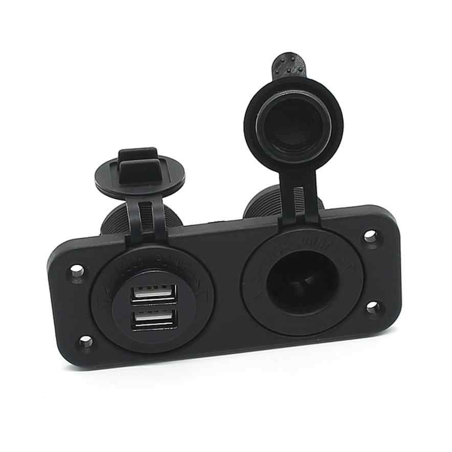 Brend New High Quality Dual USB Charger and Socket Panel Mount Marine 12 Volt Power Outlet Car Styling @027