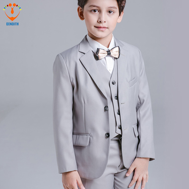 5 Pcs/Set 2018 new baby Boy Wedding Suit Gentle Baby Boys Vest Shirt Pants Formal Party Suit color silvery Childre Clothing Set winter children boys formal sets 5 pcs woolen blend coat pants vest shirt tie costume wedding birthday party gentleman boy suit