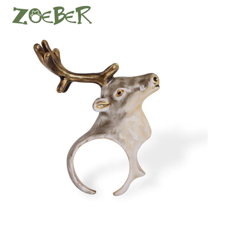 Zoeber New Design Cute Elk Wapiti Ring for Women 3D Enamel Glaze Finger Animal Rings Adjustable Rings Young Girl RJ2109 цена в Москве и Питере