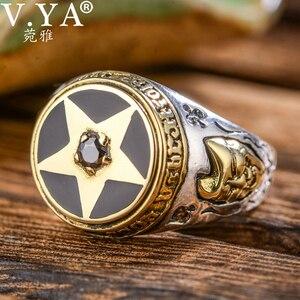 Image 2 - V.YA 925 Sterling Silber Invertiert Pentagramm Ring für Männer mit Naturstein Pentagramm Ringe Schmuck Mode Männer Ring