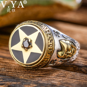 Image 2 - V.YA 925 Sterling Silver Inverted Pentagram Ring for Men with Natural Stone Pentacle Rings Jewelry Fashion Men Ring