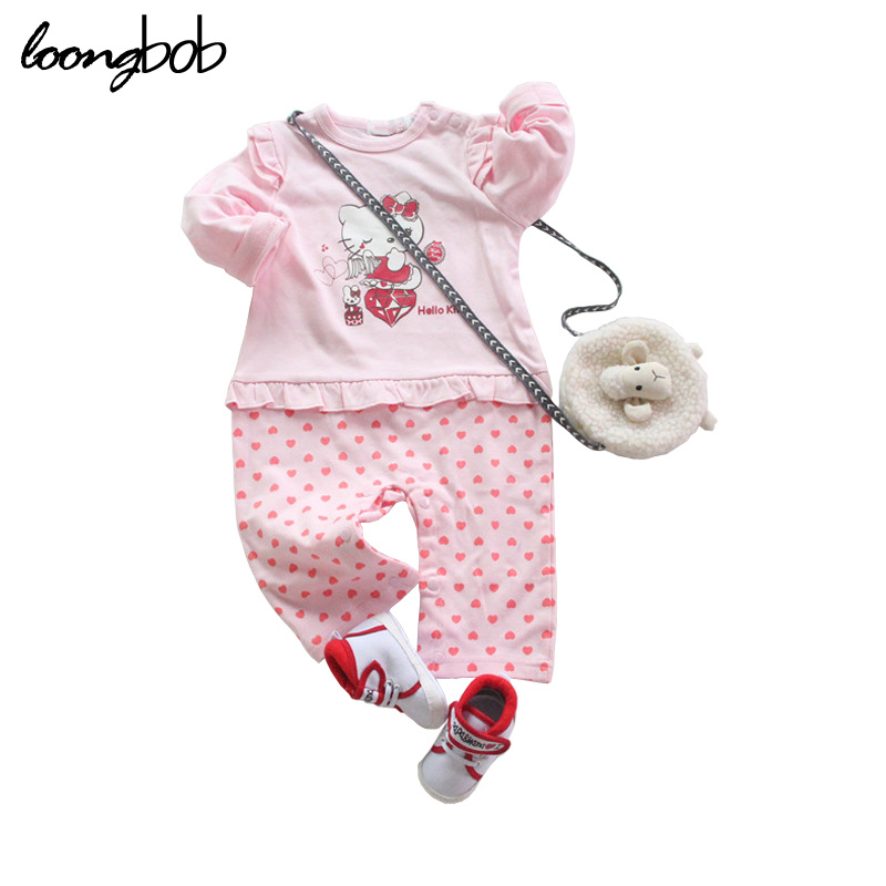 New Spring Hello Kitty Cartoon Modelling Clothes Bebe Jumpsuit Newborn Girls One Piece Princess Pink Red Romper