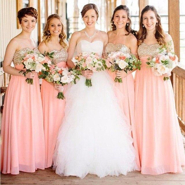 05e5a67889 Chiffon Elegant Coral dama de Honor Vestidos Largos de La Gasa Del Amor Del Cequi  Que Lavender Bridesmaid Dresses 2017