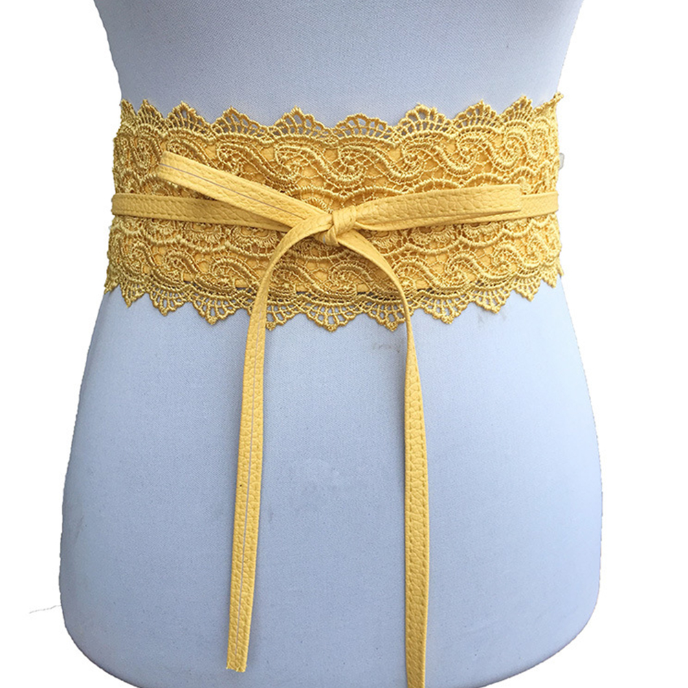 Women Lace Wide Waistband  Resistant Fabala Belt Easy Matching Durable Firmly Tie Corset Belt Exquisite Ladies Canvas Waist Belt