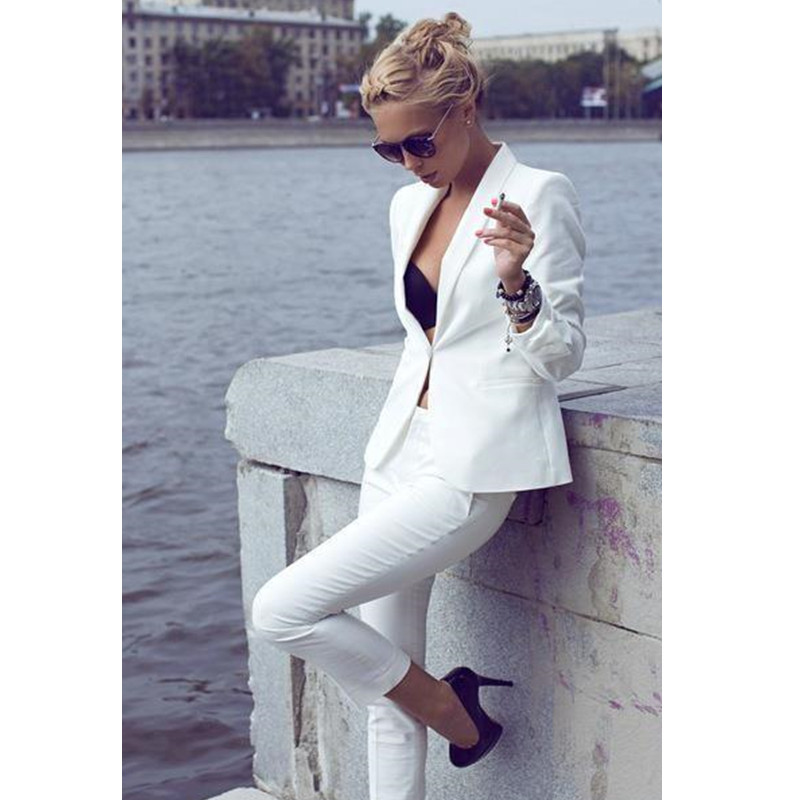 Custom Made Ivory Women's Tuxedos Shawl Lapel Suits For Women One Button Business Party Suits