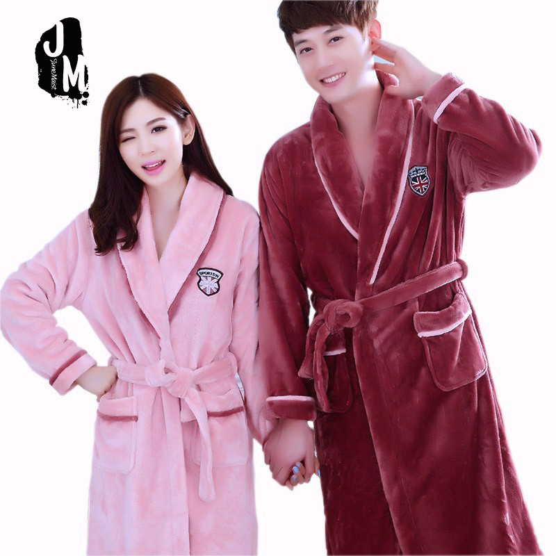 cf536ba6db Winter Thick Warm Women Robes New Coral Fleece Sleepwear Long Robe Woman  Hotel Spa Plush Bathrobe Nightgown Kimono