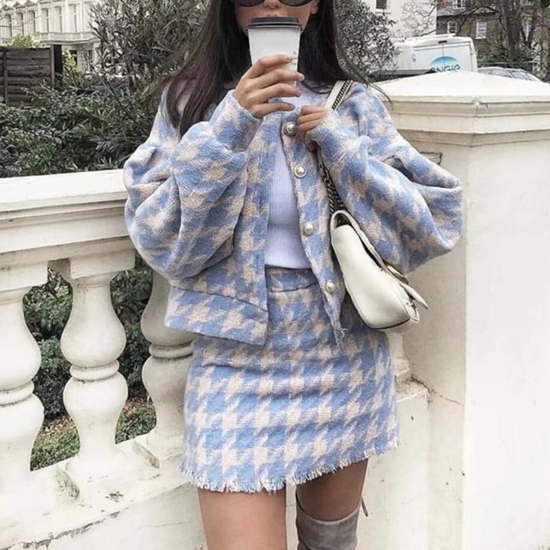 2018 Женские винтажные комплекты с юбкой зимние женские шерстяной твид куртка + костюм с короткой юбкой элегантные комплекты из двух предметов