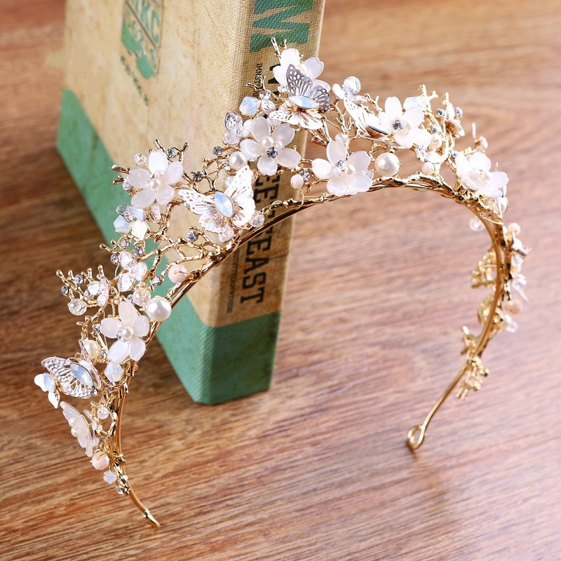 Jonnafe Baroque Vintage Crown Gold Branch Wedding Tiara Hair Accessories Pearls Women Jewelry Bridal Crowns Headwear цена 2017