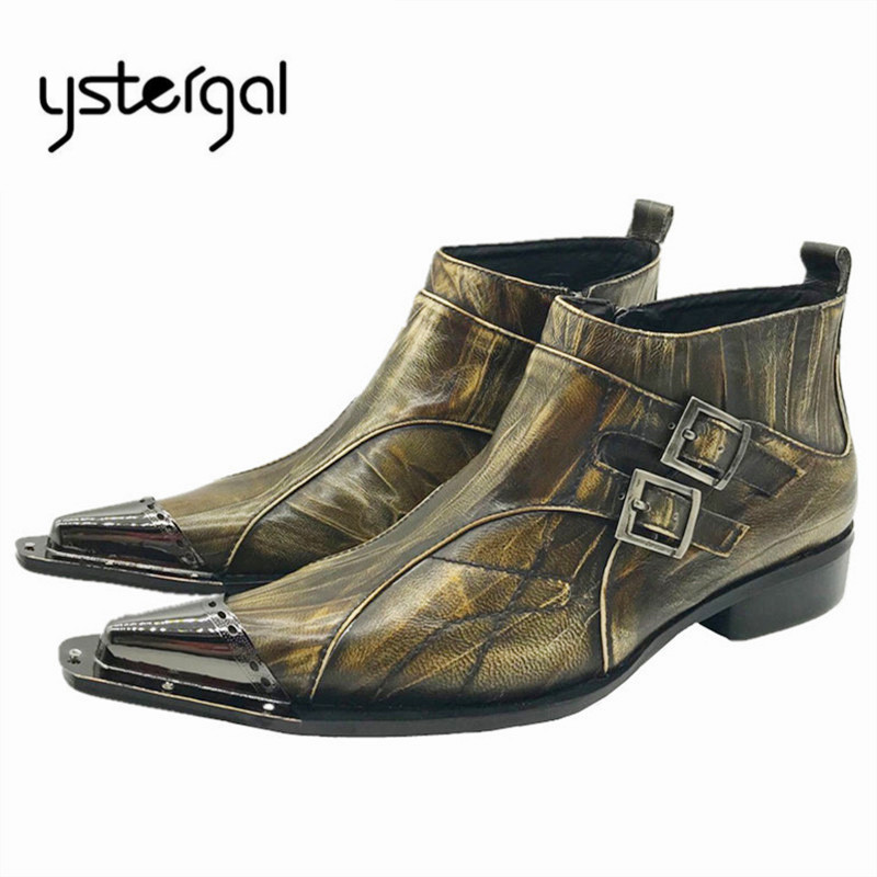 YSTERGAL Fashion Pointed Toe Men Ankle Boots Spring Autumn Genuine Leather Botas Hombre Cowboy Military Boots Formal Dress Shoes brown men ankle boots spring autumn genuine leather cowboy boots pointed toe lace up mens military boots safety shoes footwear