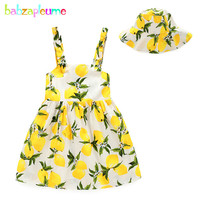 babzapleume 2017 summer baby girls clothes dresses+hats princess costume cute sleeveless kids dress for children clothing BC1243
