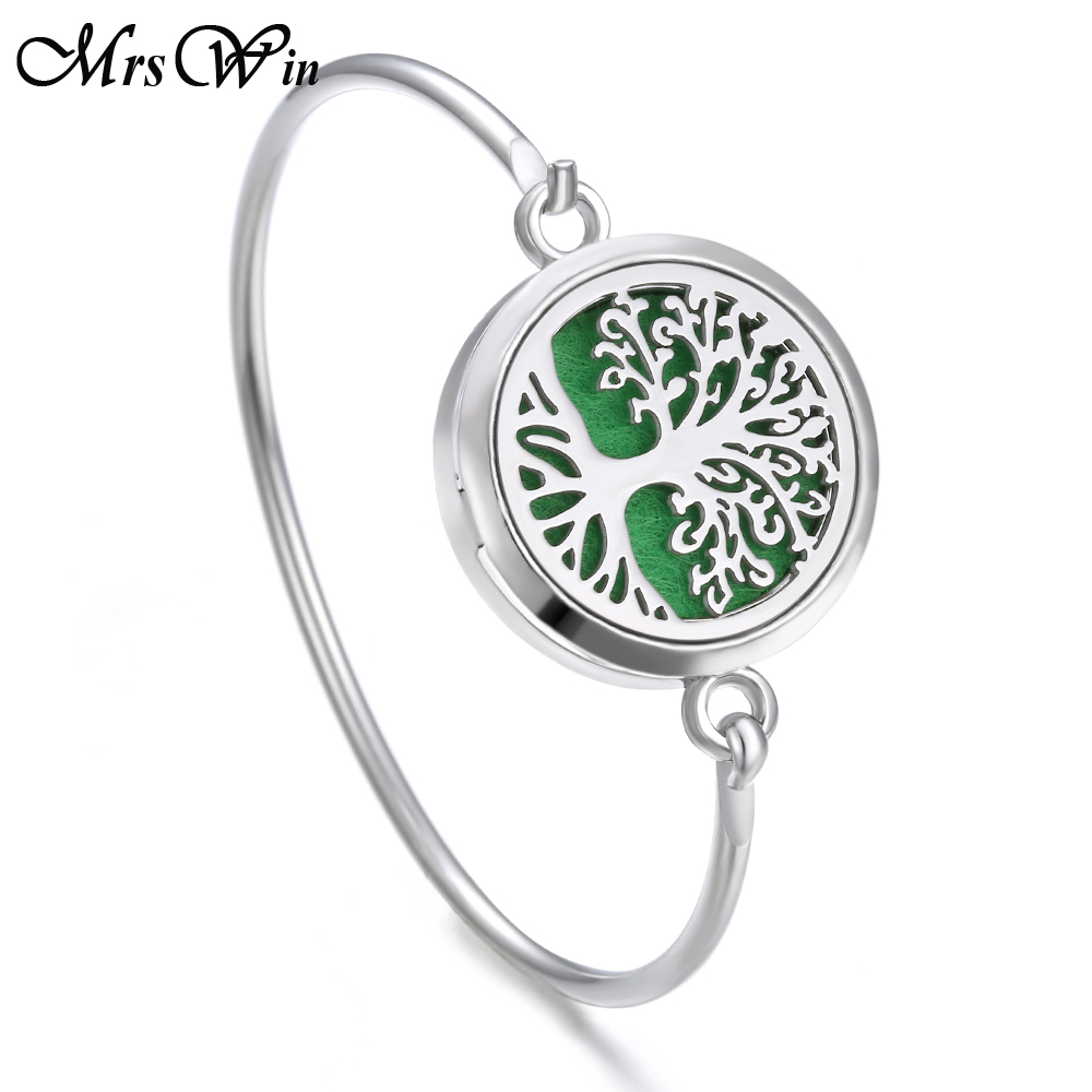 Bracelet médaillon arbre de vie Bracelet de noël en acier inoxydable diffuseur d'huile essentielle parfum aromathérapie Bracelet aromathérapie