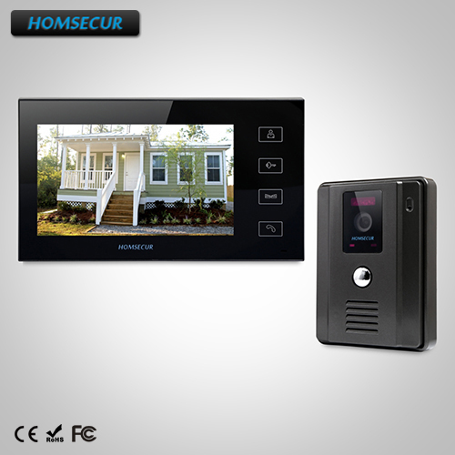 """HOMSECUR 7"""" Wired Video&Audio Smart Doorbell+Black Camera For Home Security TC011-B Camera +TM704-B Monitor"""