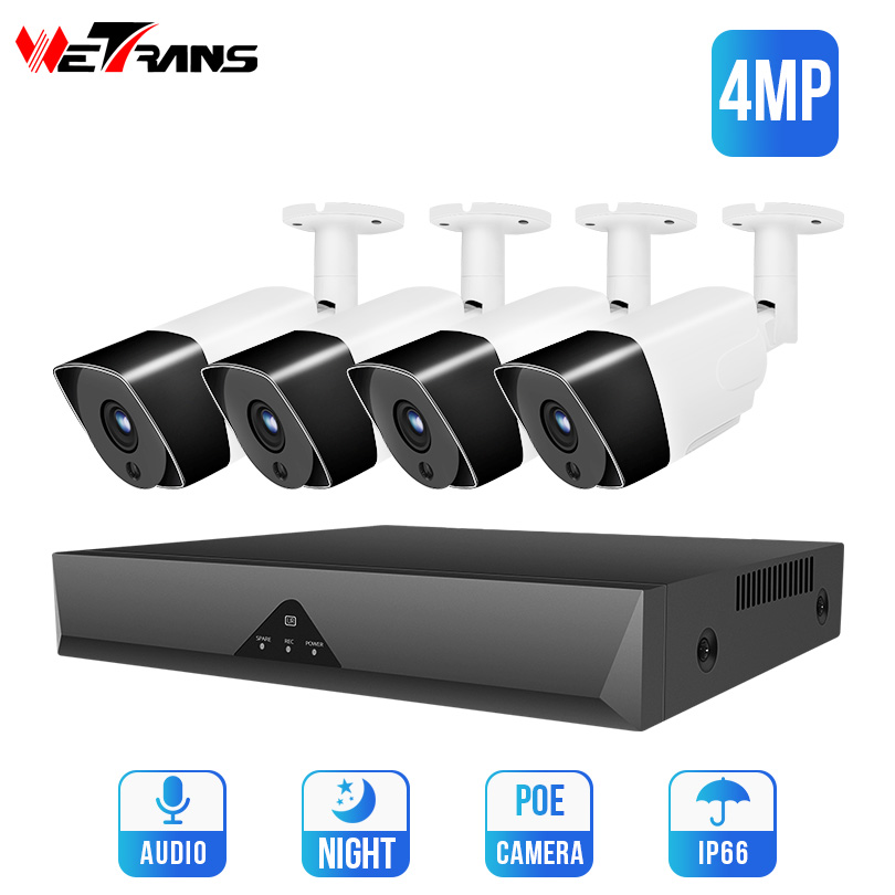 Wetrans CCTV Camera System 4MP Realtime H.265 4CH Security Camera System POE NVR Kit HD Audio Outdoor IP Video SurveillanceWetrans CCTV Camera System 4MP Realtime H.265 4CH Security Camera System POE NVR Kit HD Audio Outdoor IP Video Surveillance