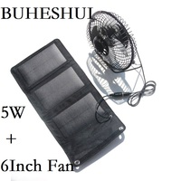 BUHESHUI Foldable 5W Solar Panel Charger Powered for Outdoor Traveling Fishing Home Office USB Fan 6Inch Cooling Ventilation Fan