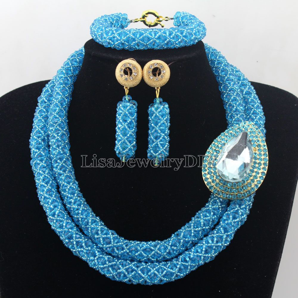 African Statement Necklace Costume Necklace Set Crystal Jewelry Womens Jewellery Set Nigerian Wedding Beads Jewelry Set HD7268