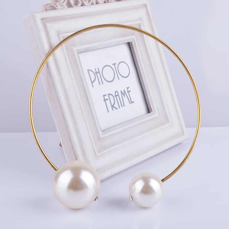 Big imitacja perły momenty złoty kolor Chokers naszyjniki dla kobiet podwójne koraliki urok wisiorek gotycka biżuteria akcesoria