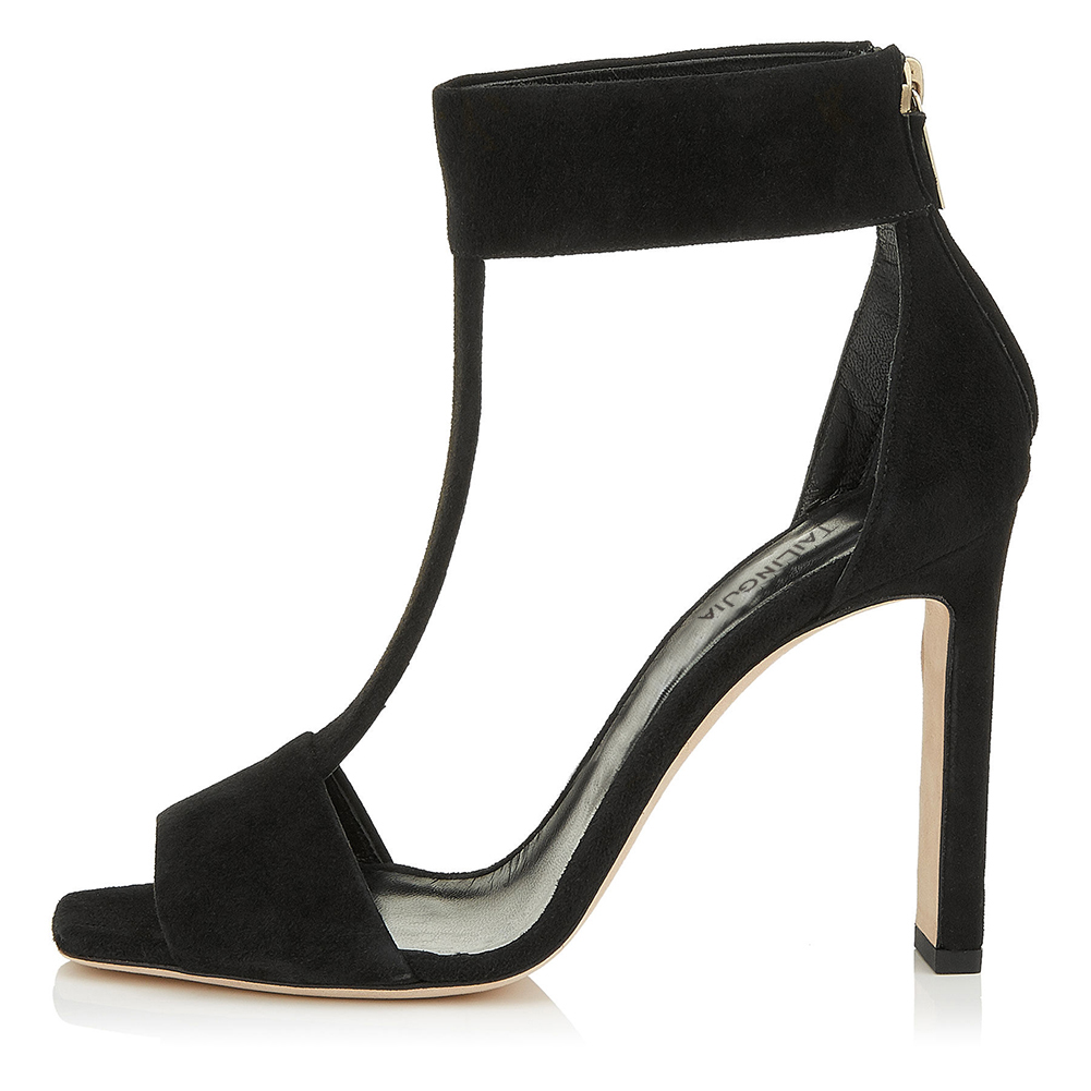ed2cfdf9827 US $51.91 12% OFF|Women Elegant Square Toe High Heel T strap Sandals Nude  Peep Toe Chunky Heels Black Faux Suede Dress Shoes Ladies Summer Shoes-in  ...