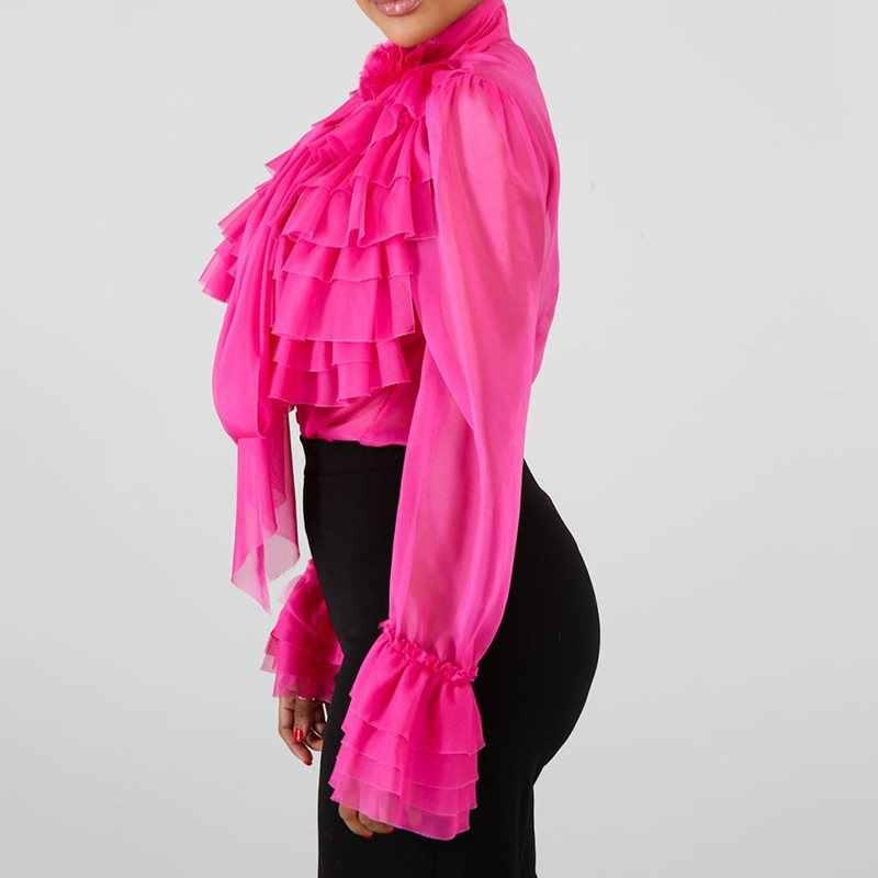 Vlakte Falbala Lange Mouw Blouse Vrouwen 2019 Zomer Roze Ruches Tops Blouse Vrouwelijke Plus Size Office Lady OL Elegante Dame shirts