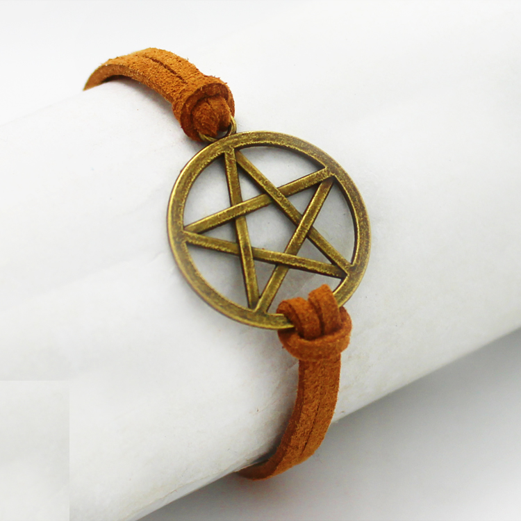 Free Shipping Supernatural Inspired Bracelet Retro Bronze Pentagram Pendant Brown Rope Bracelet