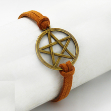 Free Shipping Supernatural Inspired Bracelet Retro Bronze Pentagram Pendant,Brown Rope Bracelet