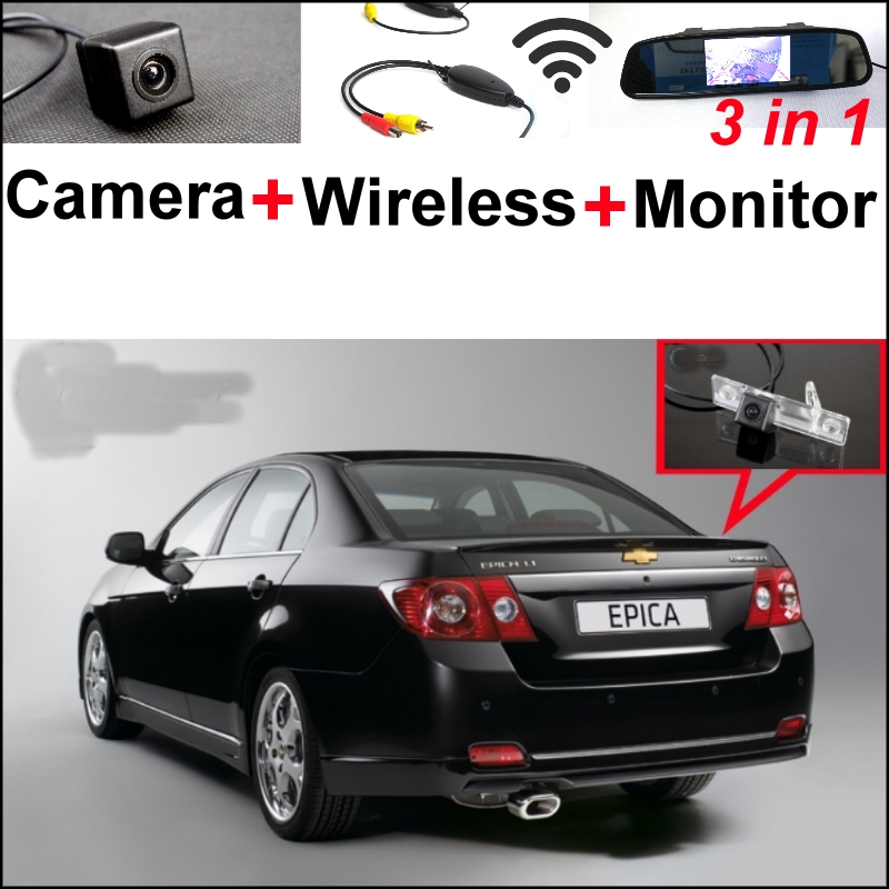 3in1 Special WiFi Rear View Camera + Wireless Receiver + Mirror Monitor DIY Parking System For Chevrolet Aveo Captiva Epica Lova wireless pager system 433 92mhz wireless restaurant table buzzer with monitor and watch receiver 3 display 42 call button