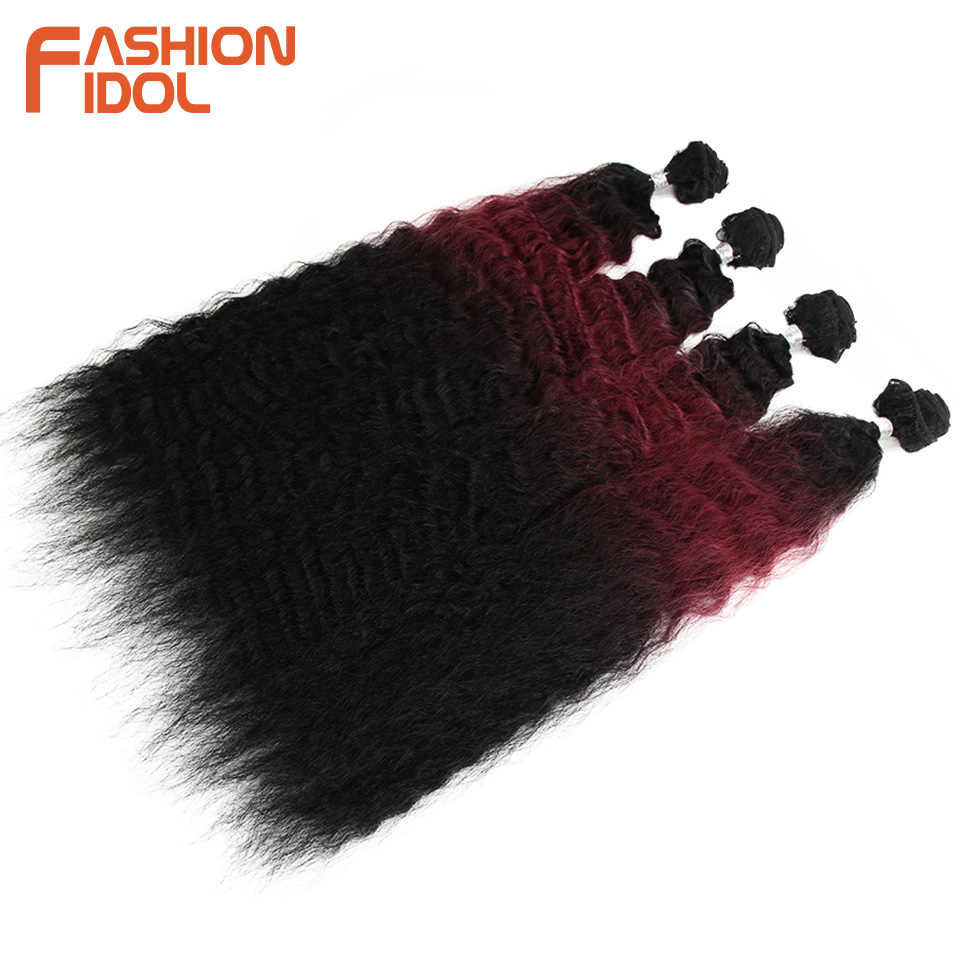 MODE IDOL Losse Golf Haar Bundels 4 stks/pak 26 inch Ombre Bruin 613 Rood Zacht Synthetisch Haar Bundels Weave Haar extensions