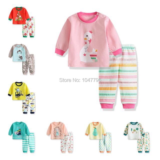 2016 Outono Inverno Bebê Recém-nascido Conjunto de Roupas Da Menina do Menino de Manga Longa Top + Calça 2 pcs Set Terno do Bebê Recém-nascido de Algodão Sleepwear Bonito