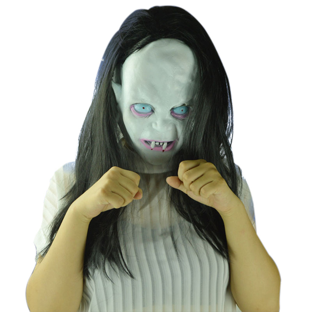 Aliexpress.com : Buy Scary Long Hair Halloween Masks Ghost Full ...