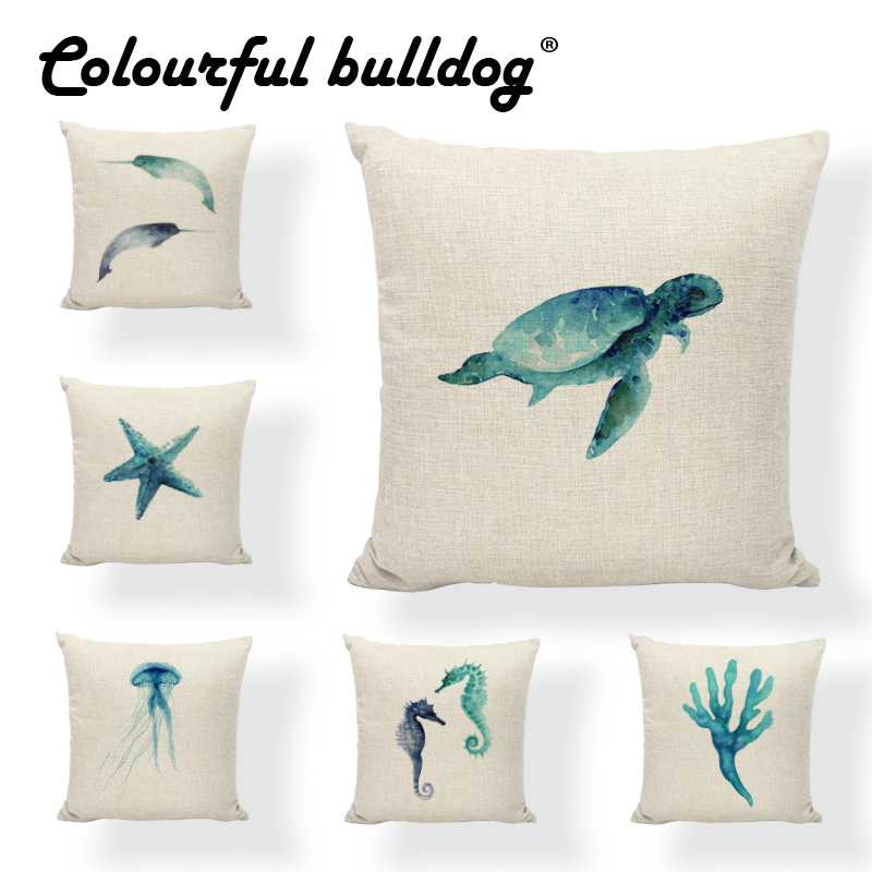 Wholesale Watercolor Painting Cushion Cover Sea Turtle Narwhal 43*43cm Jellyfish Coral Whale Puffer Pillowcase Decor Living Room