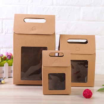 100psc Black White Kraft paper cake cookies candy packaging paper gift box With window portable gift candy paper box with handle