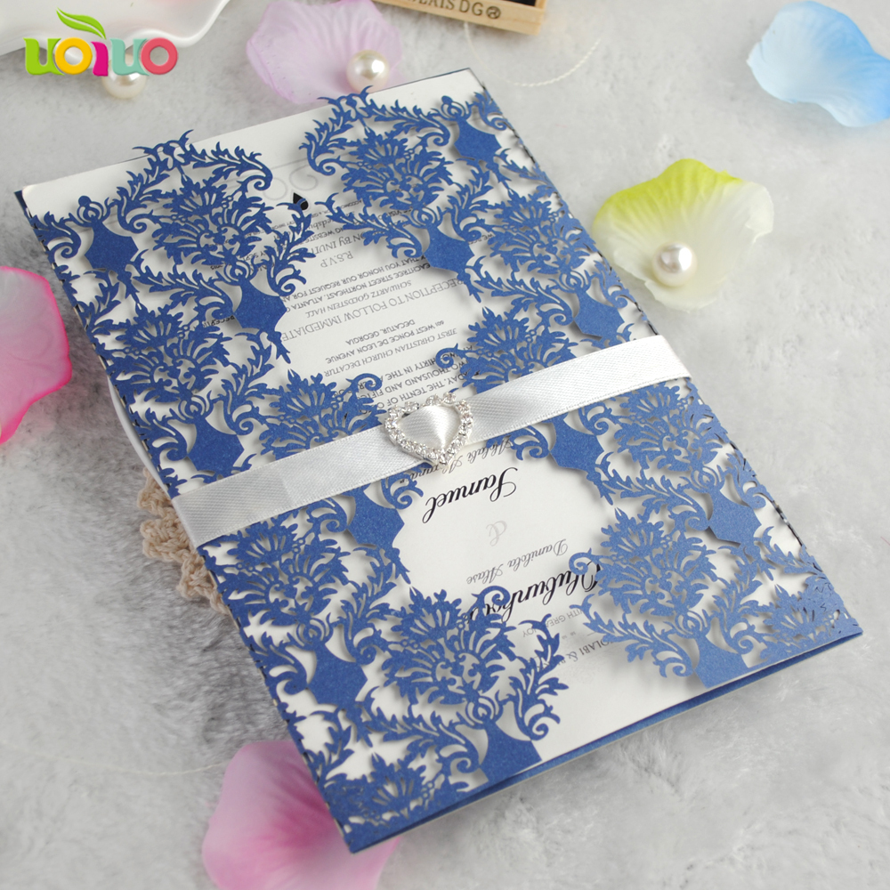 Best Wedding Invitations Cards: Top Sell Elegant Royal Blue Flower Lace Marriage